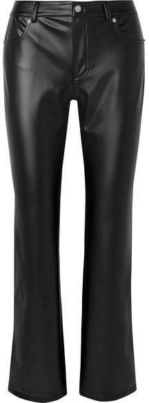 Faux Leather Straight-leg Pants - Black