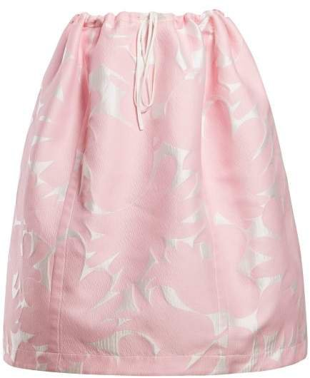 Puffed Floral Jacquard Midi Skirt - Womens - Pink White