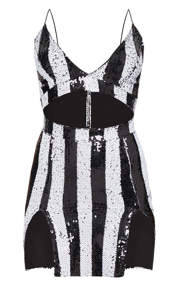 Monochrome Stripe Sequin Strappy Plunge Extreme Split Bodycon Dress   PrettyLittleThing USA