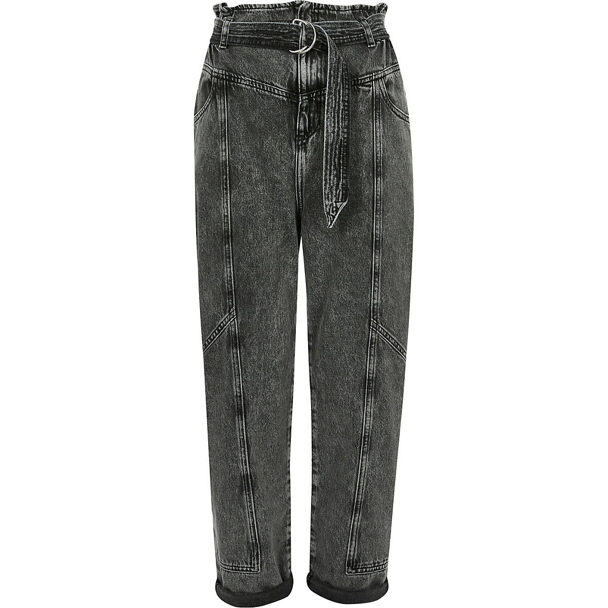 Petite grey paperbag waist belted jeans - Straight & Slim Jeans - Jeans - women