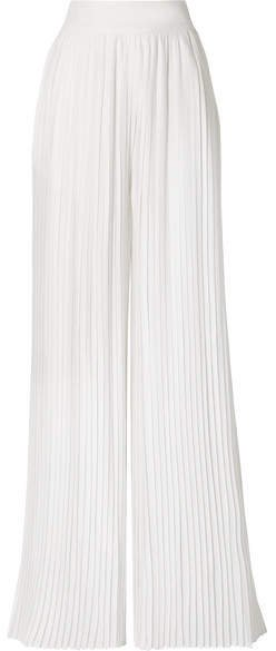 SemSem - Pleated Twill Wide-leg Pants - Ivory