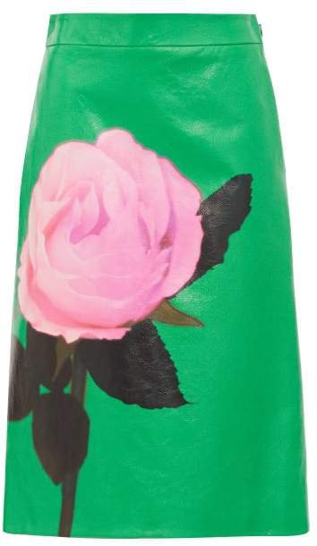 Rose Print Leather Skirt - Womens - Green Print