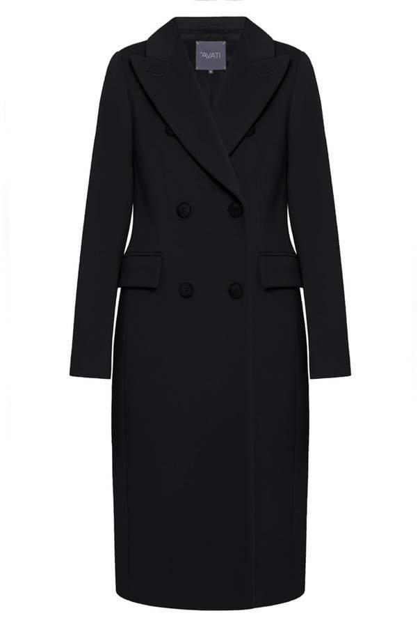 InAvati - Double-Breasted Italian Wool Coat Black