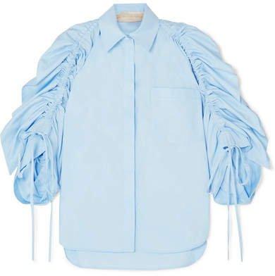 Ruched Cotton-poplin Shirt - Blue