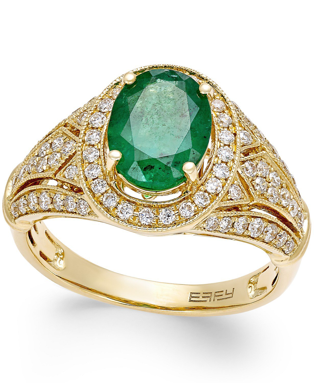 EFFY® 14k Gold Emerald and Diamond Ring