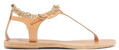 Chrysso Ball Chain Leather Sandals - Womens - Tan
