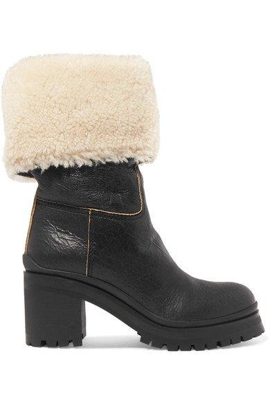 Miu Miu | Shearling-trimmed leather boots | NET-A-PORTER.COM