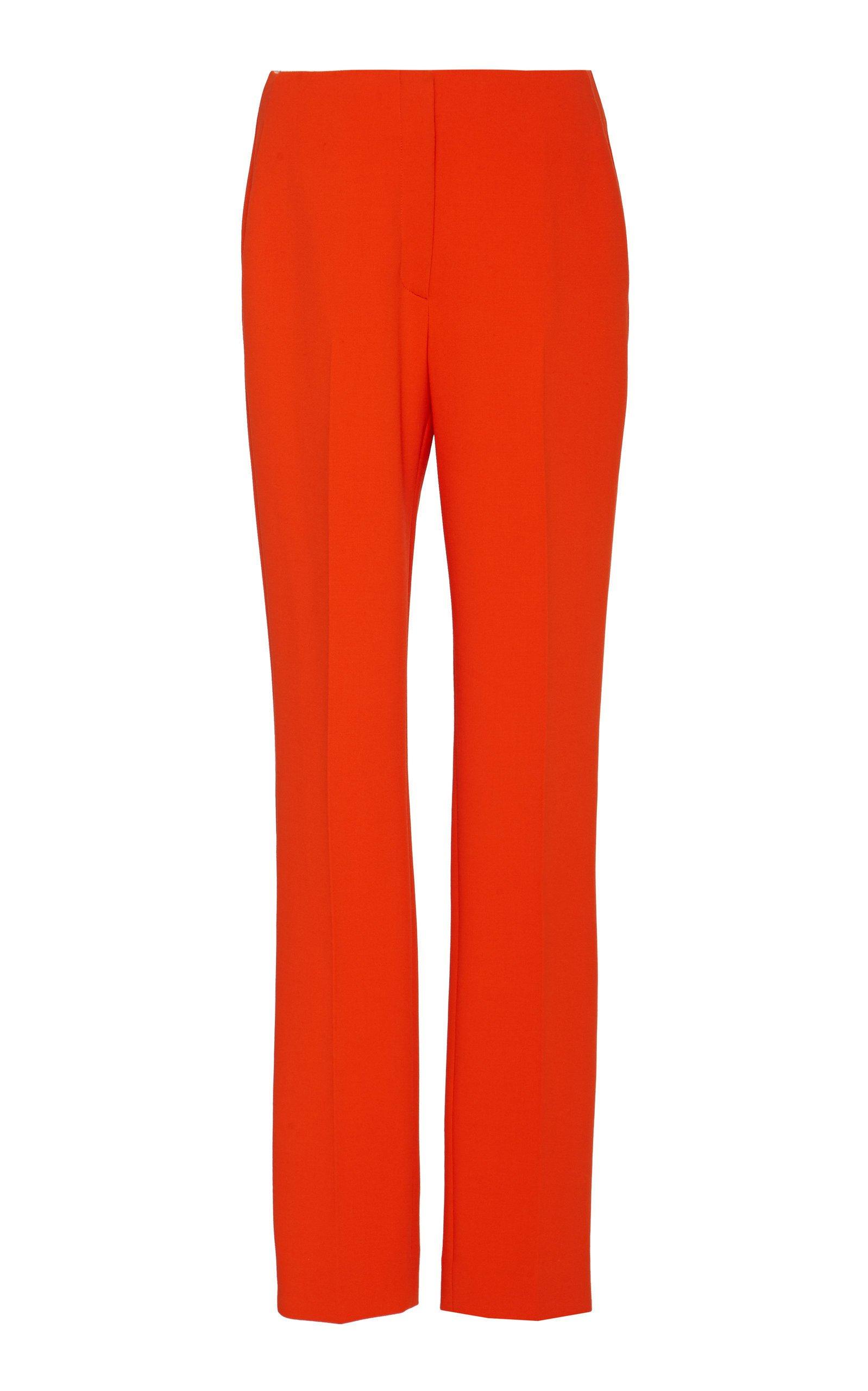 Ralph Lauren Simone Wool Crepe Mid-Rise Straight-Leg Pants