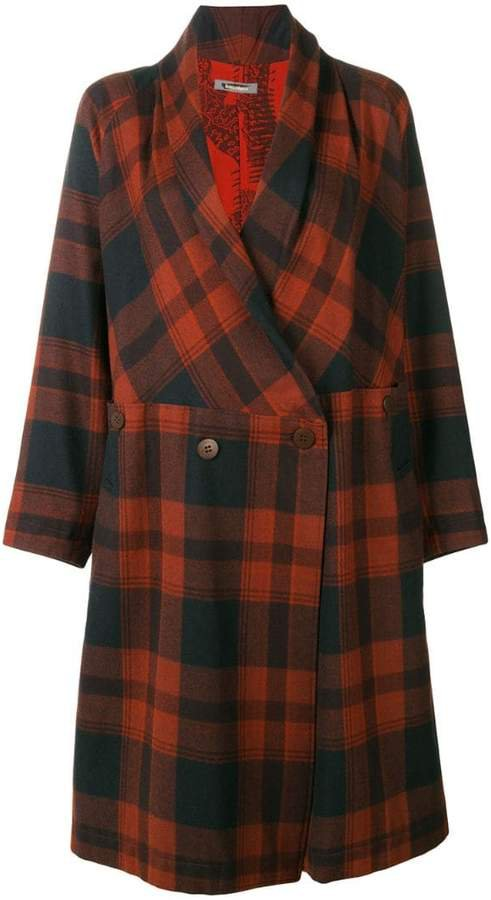Pre-Owned belted plaid coat