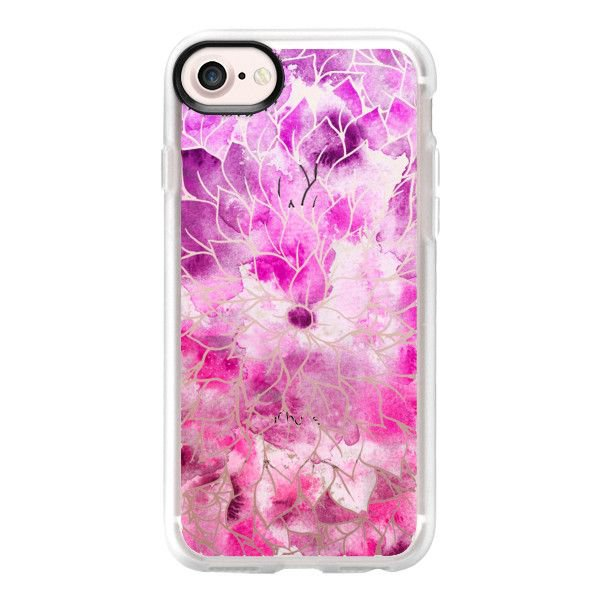 Modern bright pink hand painted watercolor floral - iPhone 7 Case And... ($40) ❤ liked on Polyvore featuring accessories, tech accessori… | phone cases | Pinte…