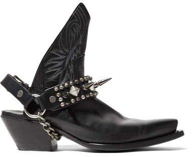 Studded Leather Slingback Ankle Boots - Black
