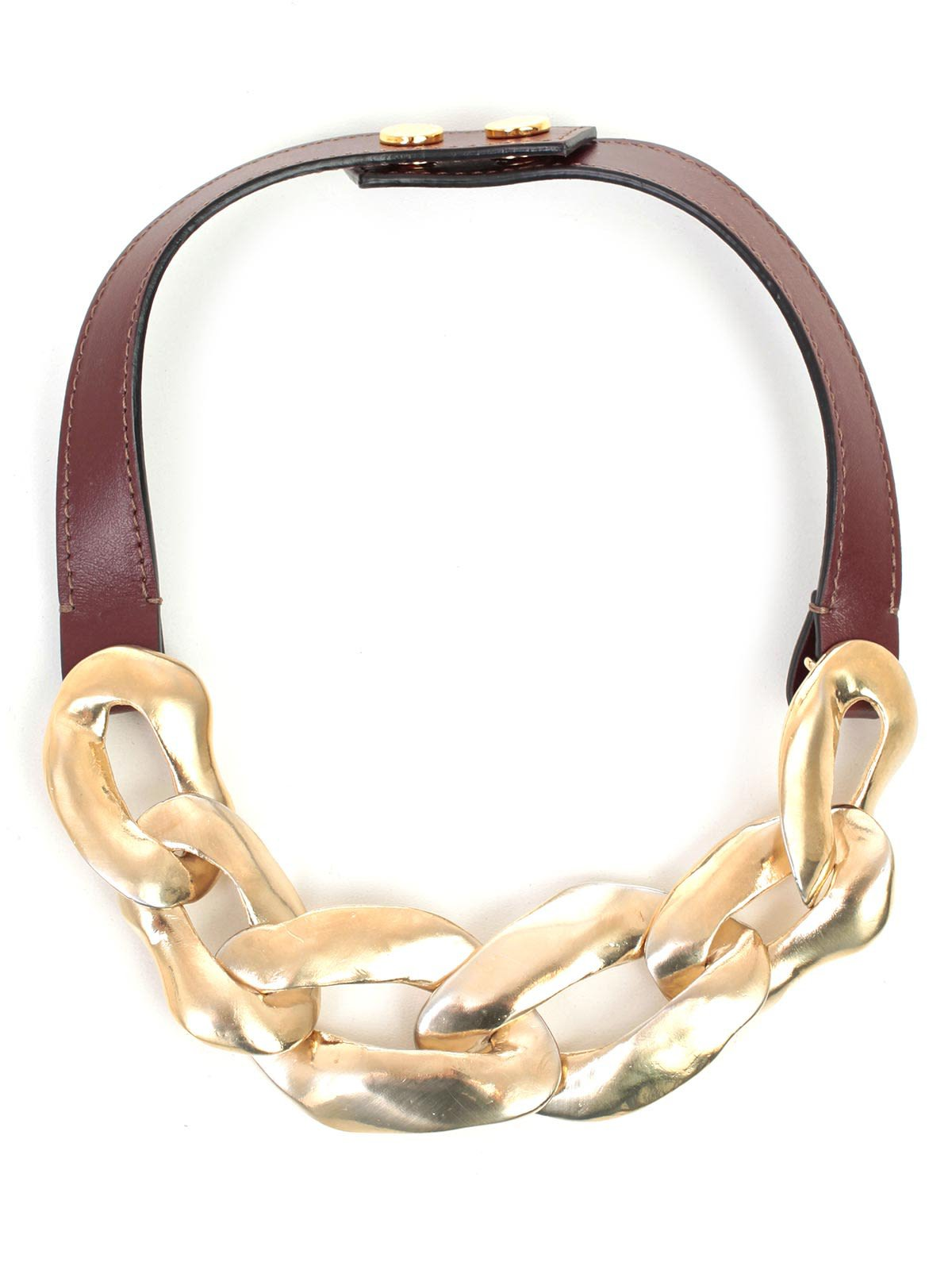 Necklace Metal And Leather