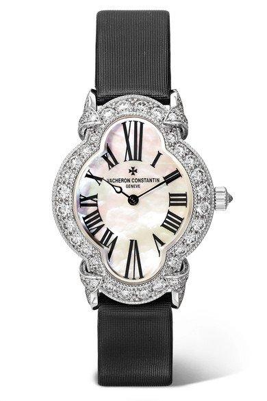Vacheron Constantin | Heures Créatives Heure Romantique 26.5mm 18-karat white gold, satin, diamond and mother-of-pearl watch | NET-A-PORTER.COM