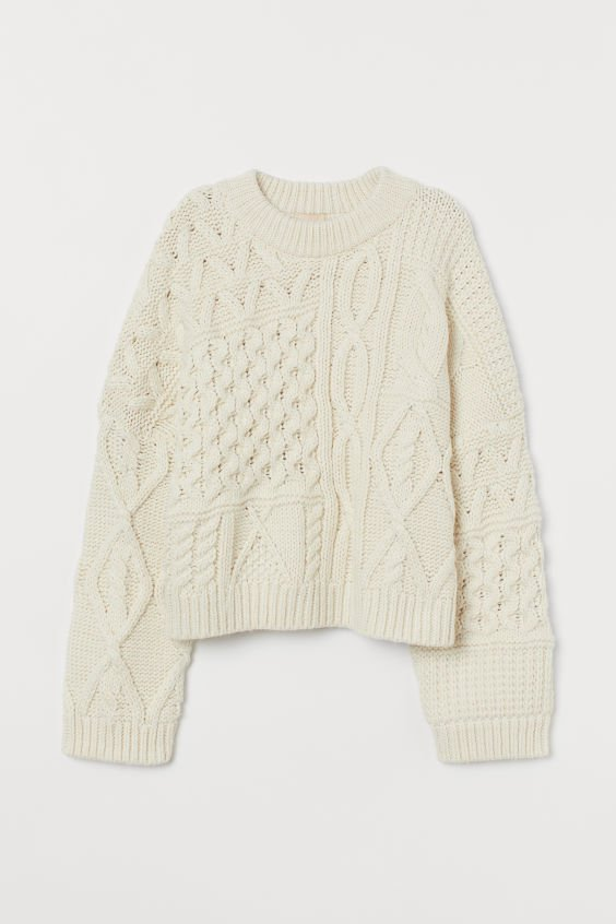 Cable-knit Sweater - Natural white - Ladies | H&M US