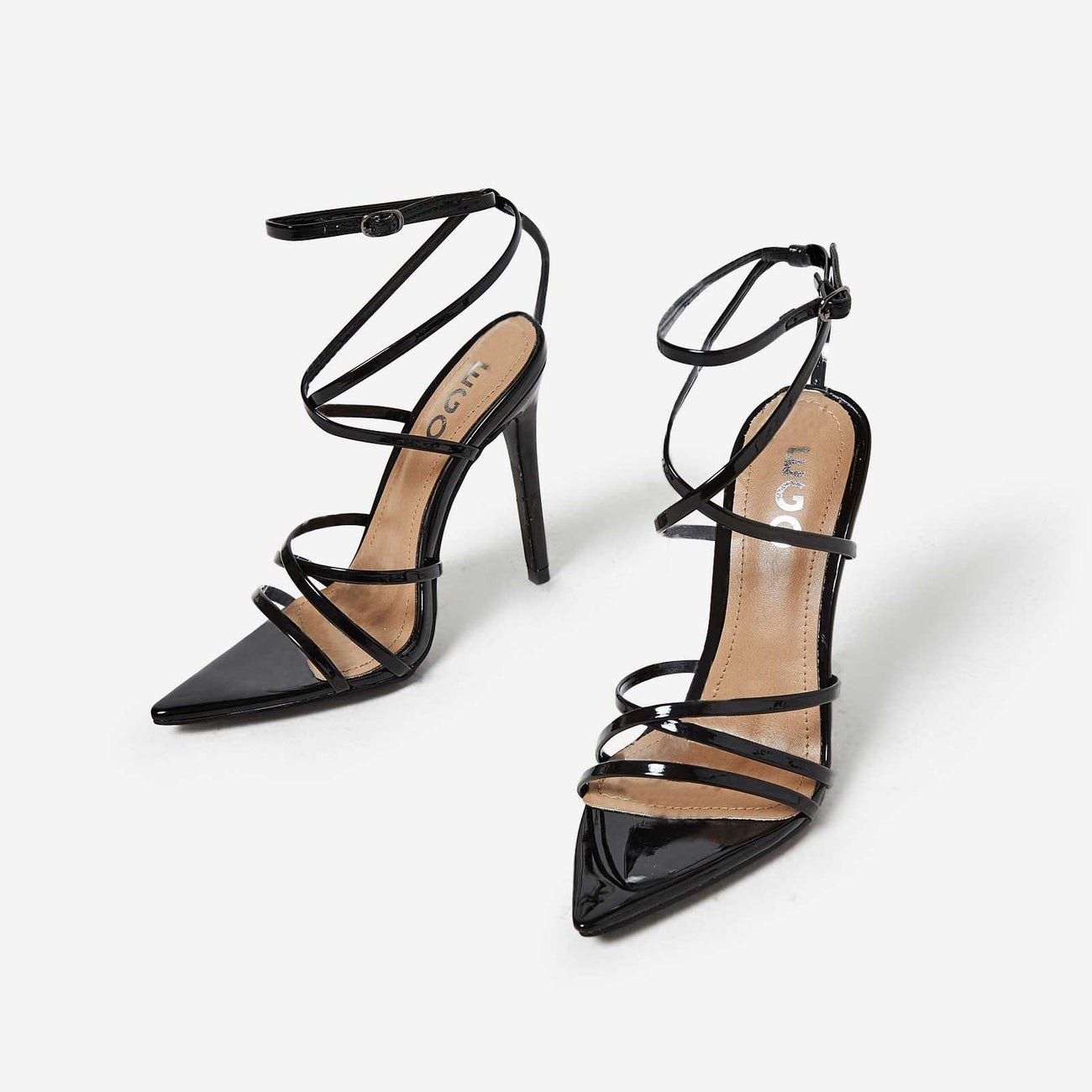 Kaia Pointed Barely There Heel In Black Patent | EGO