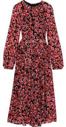 Belted Floral-print Silk-chiffon Midi Dress