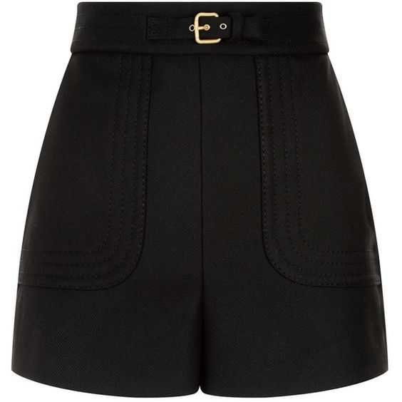 Red Valentino High-Waist Shorts (18.600 RUB) ❤ liked on Polyvore featuring shorts, bottoms, pants, faux-leather shorts, buckle shorts, high-rise shorts, red valentino and metallic shorts