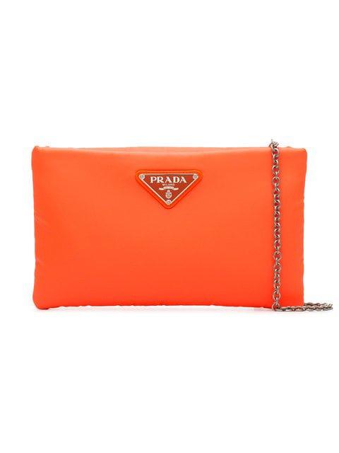 Prada Fluorescent Orange Logo Nylon Clutch Bag - Farfetch