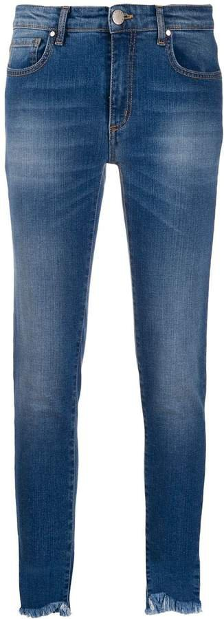 frayed cropped skinny jeans