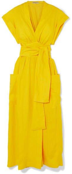 Three Graces London - Clarissa Belted Linen Wrap Dress - Yellow