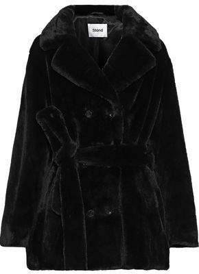 Stand Studio Fausta Double-breasted Belted Faux Fur Coat