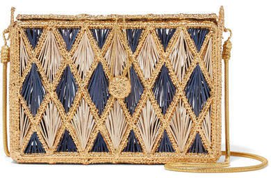 Magnetic Midnight - Rombos Woven Palm Leaf And Gold-plated Shoulder Bag - Blue