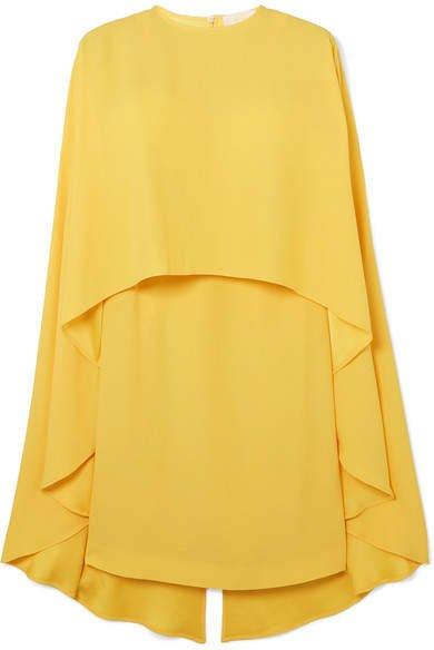 Cape-effect Crepe De Chine Mini Dress - Yellow