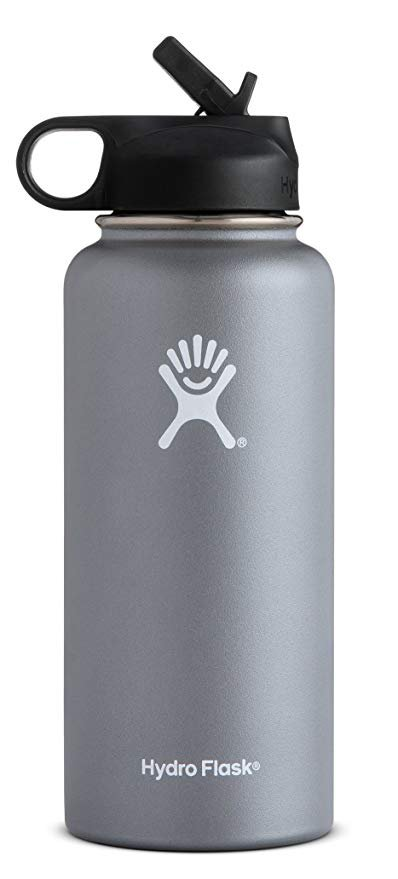 Amazon.com : Hydro Flask Double Wall Vacuum Insulated Stainless Steel Sports Water Bottle, Wide Mouth with BPA Free Straw Lid : Sports & Outdoors