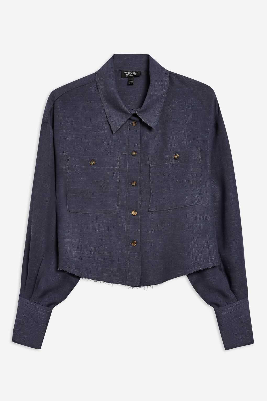 Chemise À Manches Longues Avec Bords Bruts topshop blouse