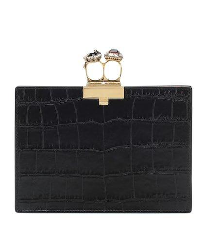 Embellished leather clutch