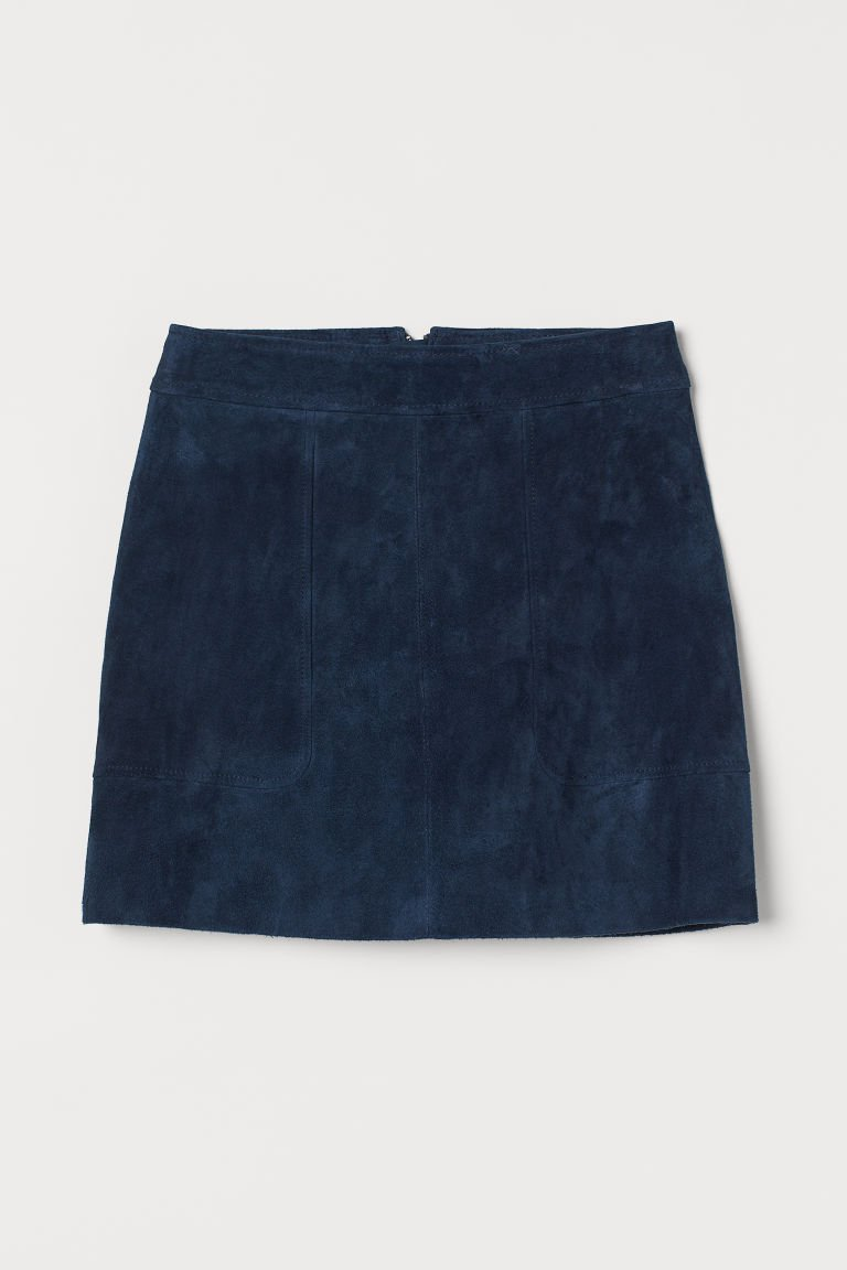 Short Suede Skirt - Dark blue - Ladies | H&M US