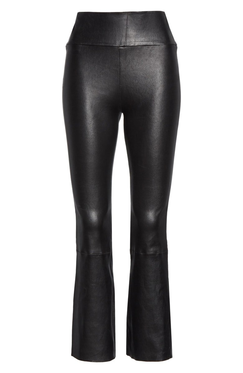 SPRWMN Crop Flare Leather Pants | Nordstrom
