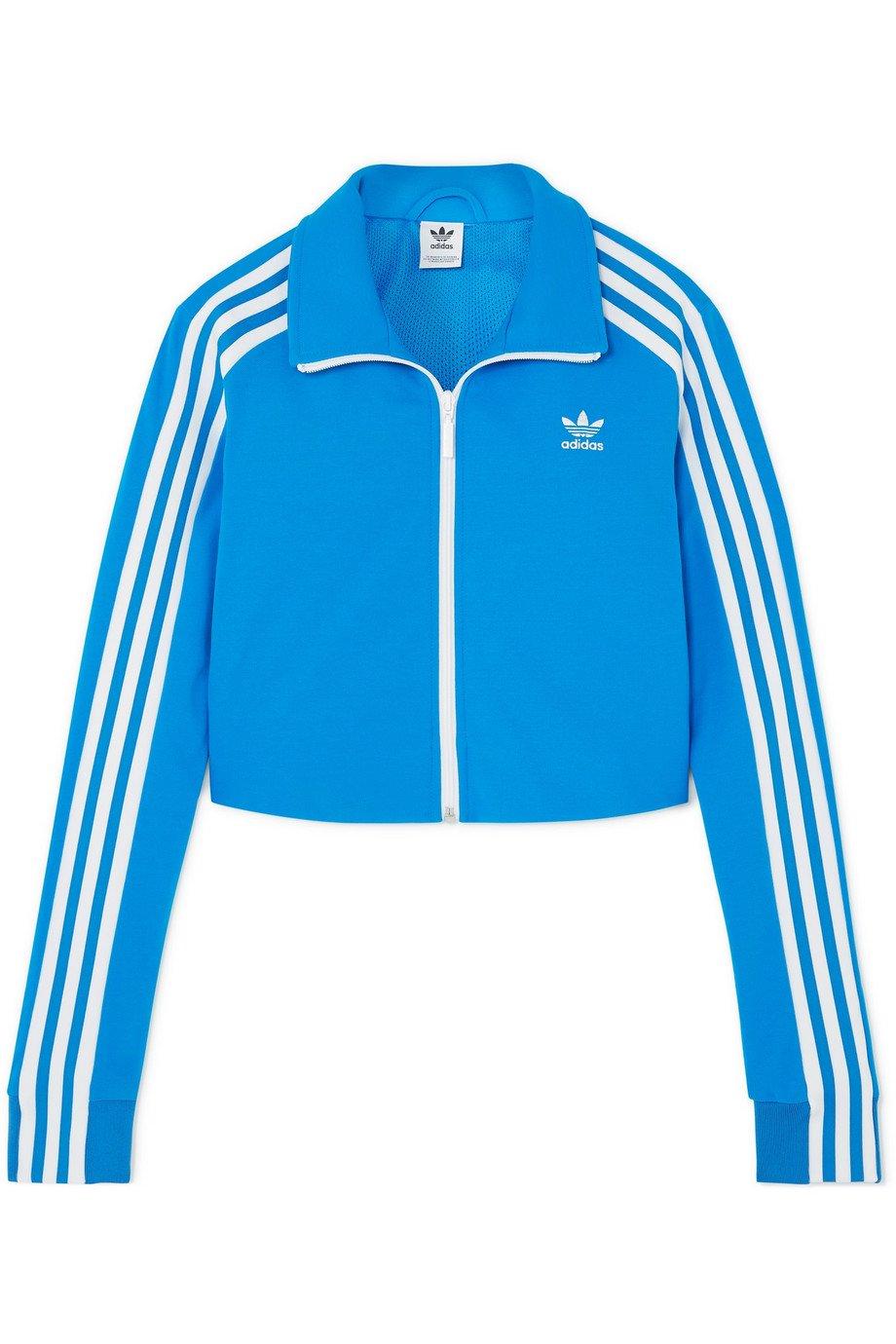 adidas Originals | Cropped striped stretch-jersey track jacket | NET-A-PORTER.COM