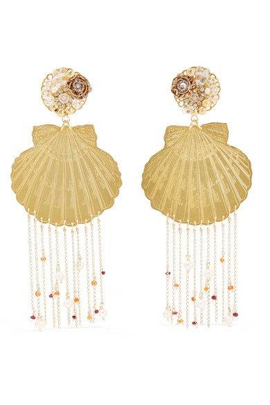 Mercedes Salazar | Tropics gold-tone, resin, crystal and faux pearl clip earrings | NET-A-PORTER.COM