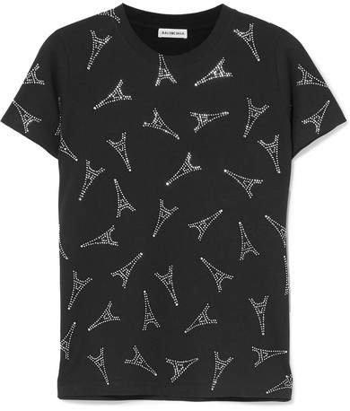 Crystal-embellished Cotton-jersey T-shirt - Black