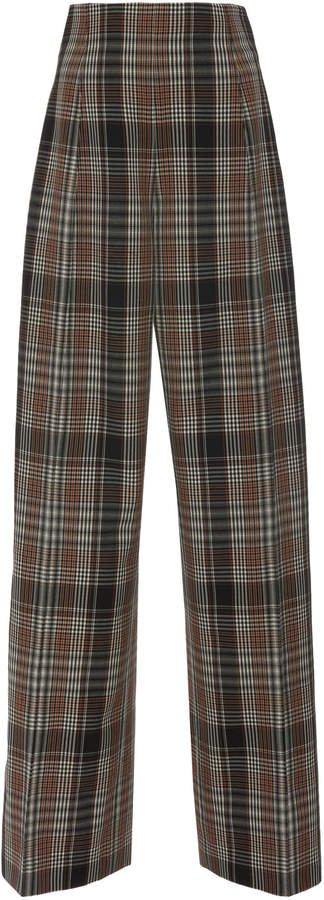 Plaid Virgin Wool Wide-Leg Pants