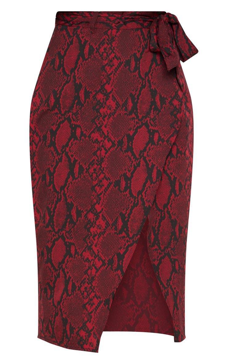 Burgundy Snake Print Belted Midi Skirt | PrettyLittleThing USA