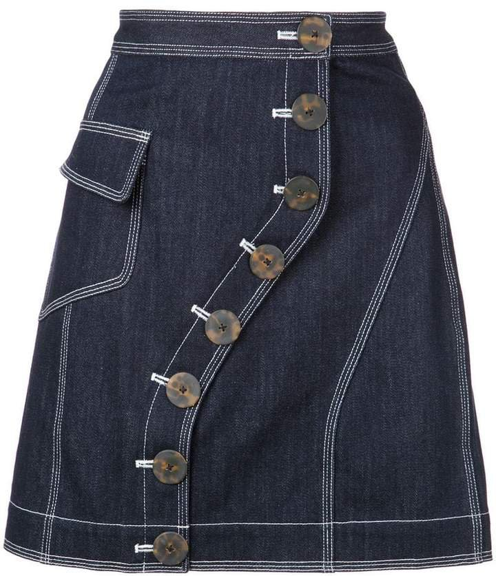 Acler button fastened denim skirt