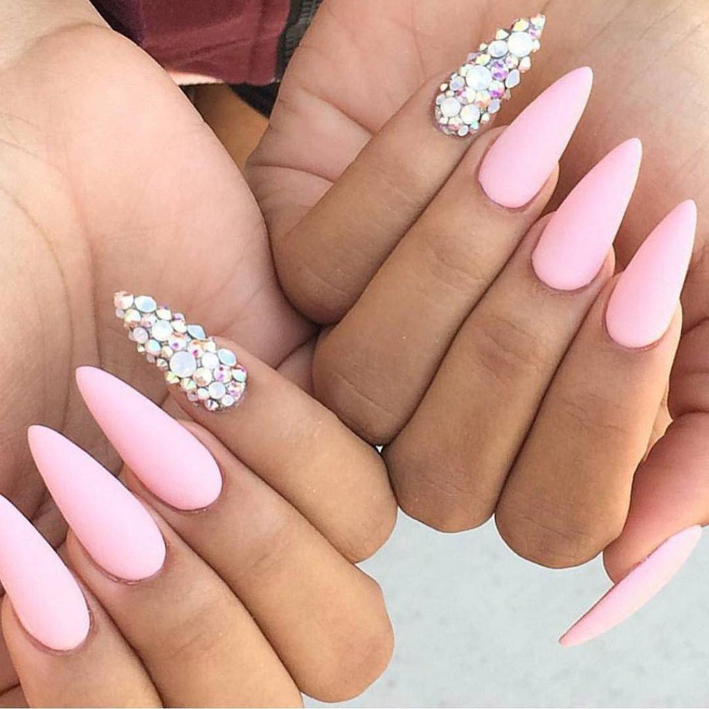 Nail Art Designs Blog | matte-baby-pink-nail-and-silver-art-manicure-design-idea