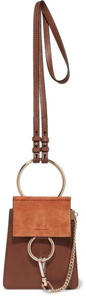 Faye Bracelet Leather And Suede Shoulder Bag - Brown