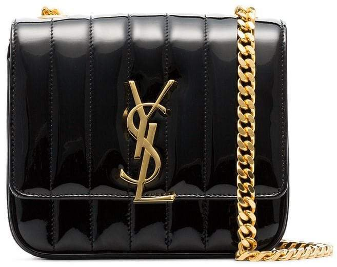 black Vicky small patent leather cross body bag