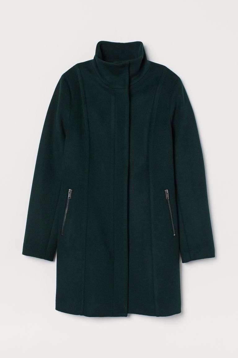 Short Wool-blend Coat - Dark green - Ladies | H&M US