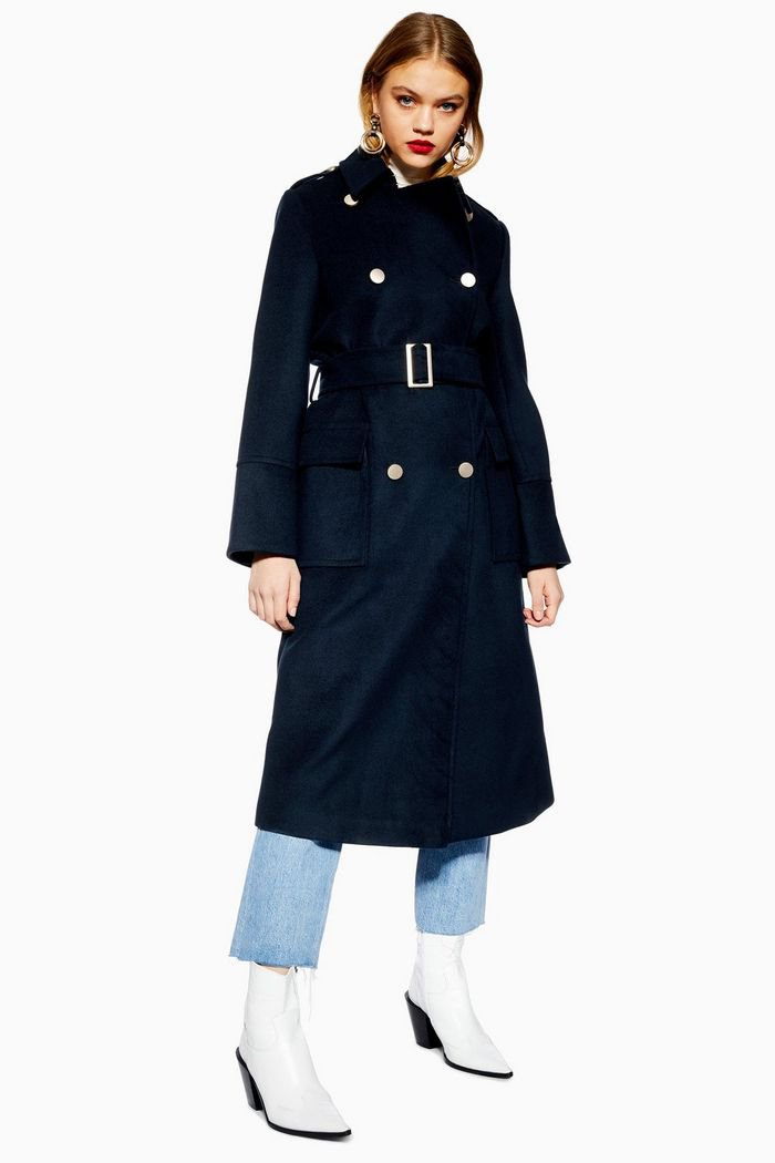 Navy Military Coat | Topshop