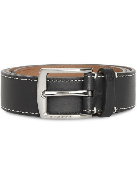 Burberry Topstitched Leather Belt