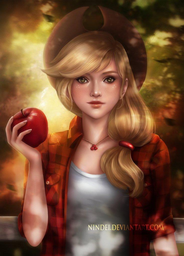 #1311259 - apple, applejack, artist:nindei, beautiful, clothes, fruit, human, humanized, looking at you, obligatory apple, realistic, safe, solo - Derpibooru