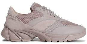Leather, Suede And Mesh Sneakers