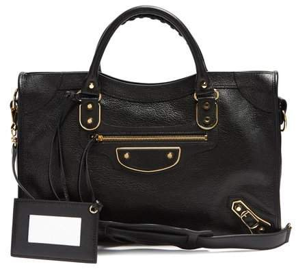 Metallic Edge City Bag - Womens - Black