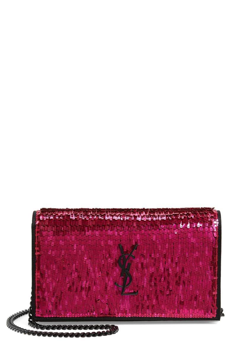 Saint Laurent Kate Embellished Wallet on a Chain | Nordstrom
