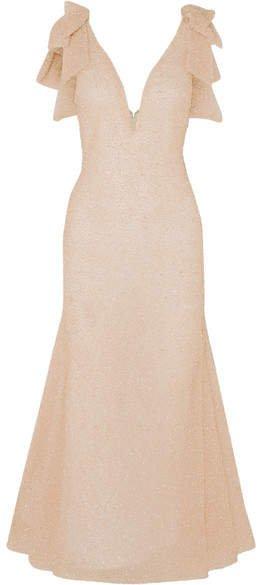 Embellished Tulle Midi Dress - Blush