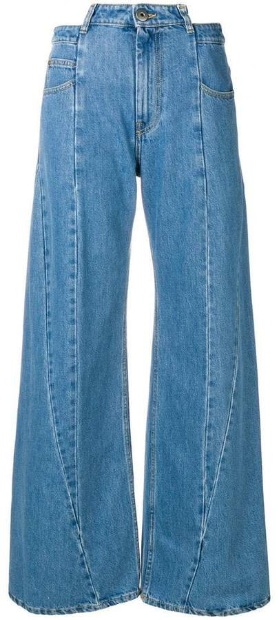 panelled wide-leg jeans